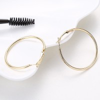 Anting Hoop Fashion Gold Color Round Shape Decorated (4Cm) E25503