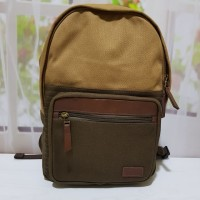 Fossil Men Estate Backpack Canvass combi Leather Brown / Navy