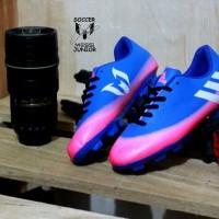 sepatu bola anak adidas messi biru pink original premium size 32 38
