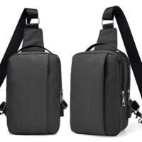 SLING BAG USB ANTI MALING TAS SELEMPANG IMPORT KANVAS CROSS BODY SAM1