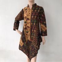 Baju blouse atasan lengan panjang model V batik cap katun wanita