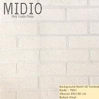 3D Background Foto Motif White Wall untuk Midio 2 49x100cm