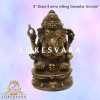 Patung/Rupang/Arca 8 Brass 4 Arms Sitting Ganesha Bronze/Perunggu