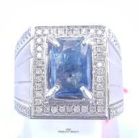 Cincin Emas Putih Kombinasi Batu Blue Safir Dan Berlian Eropa