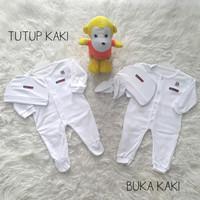 Jumper/Jumpsuit/Sleepsuit Baju Bayi Putih Set Topi Newborn