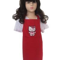 celemek anak Merah Hello kitty /apron masak / kostum baju koki murah