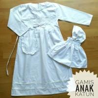 murah (4/5/6T) Baju Muslim Gamis Anak TK Putih Bahan Katun 4 5 6 Tahun