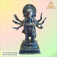 Patung/Rupang/Arca 22 Standing Ganesha With 8 Arms Bronze/Perunggu