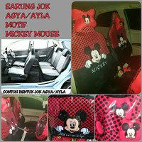 Sarung Jok Mobil Full Set AGYA/AYLA Motif MICKEY MOUSE Merah Hitam