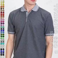 n C59 Original K2-44 Kaos Polo Shirt Pria Lakos Polos Abu Tua Misty