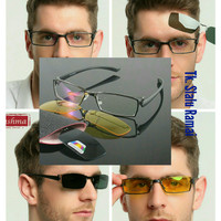 Frame Kacamata Minus + 2 Magnetic Clip On Polarized Sunglasses FM-06