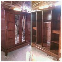 lemari pakaian 4 pintu sliding kayu jati asli