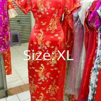 Cheongsam Qipao Long Dress Motif Naga Burung Hong