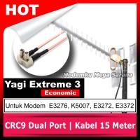 Antena Modem Huawei E3372 Yagi Extreme III Eco Pigtail CRC9 Dual Port