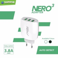 Charger Hippo Nero 3 Samsung/Oppo/Xiaomi/iPhone/Asus 3 USB 3.8A VP - Hitam
