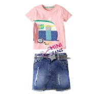 Baju Setelan Anak Rok Mini Jeans Pink