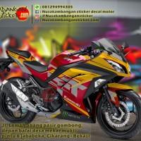 Decal Striping Kawasaki Ninja 250 FI – Motif H2R Merah Orange 015