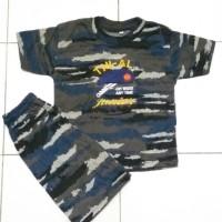 Baju Kaos Setelan Anak Doreng Loreng Army TNI AL Polisi