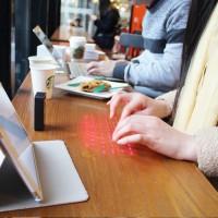 F1A Mini Portable Laser Projection Virtual Bluetooth Keyboard - Black