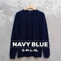 Baju Kaos Polos Lengan Panjang NAVY BLUE Biru Navi Dongker - S