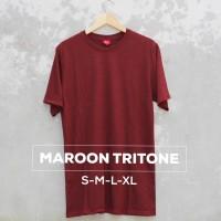 Baju Kaos Polos Oblong Bandung MAROON TRITONE Merah Marun Cewek Cowok - S