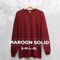 Baju Kaos Polos Lengan Panjang MAROON SOLID Merah Marun Cewek Cowok - S