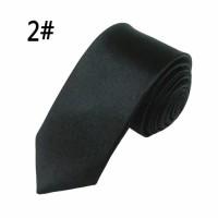 Dasi Pria Panjang / Dasi Satin Polos / Dasi Slimfit 5Cm / Warna Hitam