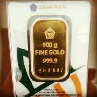 100 GR (GRAM)GOLDBAR/LOGAM MULIA/LM/EMAS BATAGAN ANTAM BERSERTIFIKAT