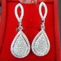 Anting Mewah Emas Putih 18k Full Berlian Eropa Putih Asli Murah ZW11K5