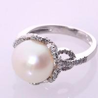 Pearl Ring Korea, Silver Emas Putih ASLI, PRING 010 (Garansi 6 bulan)