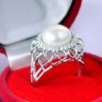 Pearl Ring Korea, Silver Emas Putih ASLI, PRING 008 (Garansi 6 bulan)