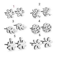 anting motif bunga daun stainless steel/titanium/baja kado