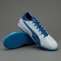 Sepatu futsal puma original Evatouch 3 IT white/blue murah