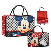 Travel Bag Karakter Mickey & Minnie Mouse Bahan Kanvas - Hitam