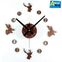 Jam Dinding Unik Besar DIY Motif Kepala Rusa (Diameter 30-60 cm)