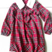 Baju Terusan Dress Anak Perempuan Elle NEW Kerah Bulu Musim Dingin