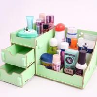 Rak kosmetik bahan kayu desktop storage cermin make up kuas - BDP012