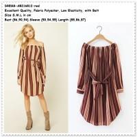 Mini Dress Sabrina Garis Stripe Baju Off Shoulder Wanita Korea Import