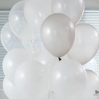 Balonasia Balon Metalik Mix 30 pcs (silver, putih, transparan)