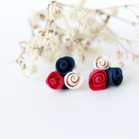 anting tindik bunga mawar valentine giwang tusuk handmade clay korea