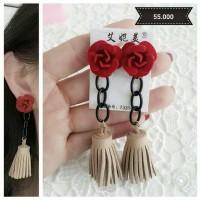 Anting - Tassel red rose earrings
