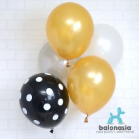Balon Latex Metalik Mix 10 pcs (metalik gold silver, polkadot hitam)