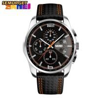 SKMEI Casual Men Leather Strap Watch Water Resistant 30m - 9106 - Oren