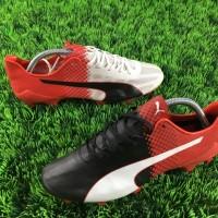 Sepatu Bola Puma EvoSPEED SL Tricks FG - White Red Black