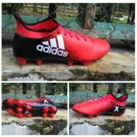 Sepatu bola adidas X hitam kombinasi merah superfly high