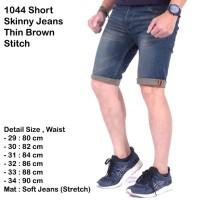 Celana Skinny Jeans Pendek Pria Stretch Thin Brown Stitch