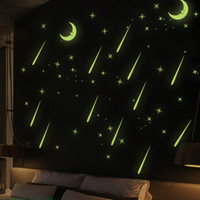 wallpaper stiker dinding langit bulan glow in the dark wall sticker