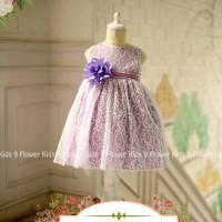 Baju anak cewe dress baby murah ungu bunga kecil lucu brukat
