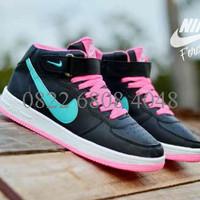 Sepatu Sneaker Woman Nike Force One High Black Kombinasi