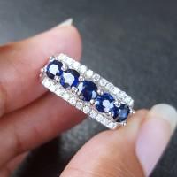 Cincin berlian eropa dan batu blue safir ceylon ikat emas putih